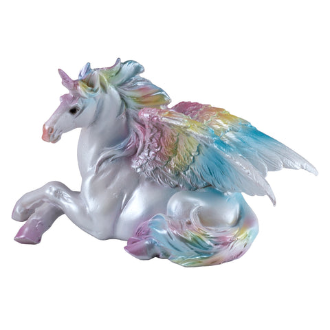 Rainbow Unipeg Lying Unicorn Pegasus Figurine 1