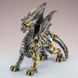 Steampunk Silver/Gold Dragon Figurine Statue 2