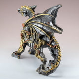Steampunk Silver/Gold Dragon Figurine Statue 4