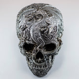 Silver Skull With Dragon Motif Figurine 2