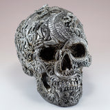 Silver Skull With Dragon Motif Figurine 3