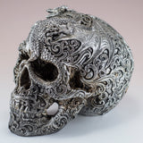 Silver Skull With Dragon Motif Figurine 4