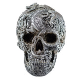 Silver Skull With Dragon Motif Figurine 1