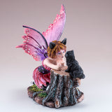 Pink Cat Fairy With Black Cat Figurine 3