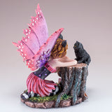 Pink Cat Fairy With Black Cat Figurine 4