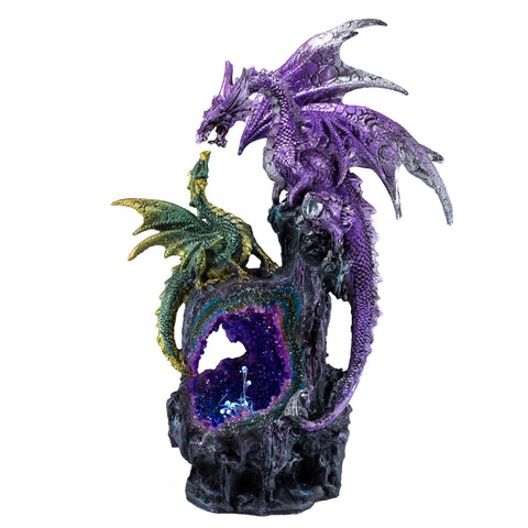 Dragons On Faux Geode Rock With LED Lights 1