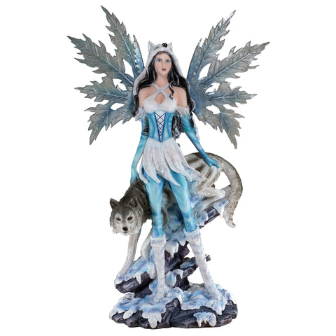 Blue Winter Fairy With Wolf Figurine
