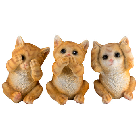 See, Hear, Speak No Evil Kitten Cat Figurines 1
