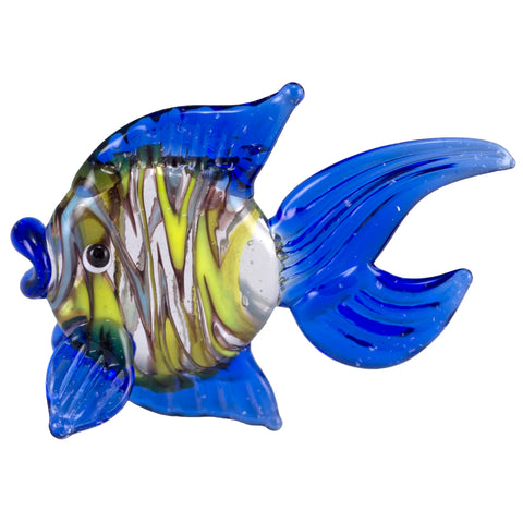 Fish Dark Blue Swirled Hand Blown Miniature Glass Figurine