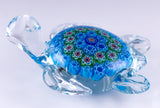 Blue Millefiori Sea Turtle Hand Blown Glass Figurine 3