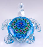 Blue Millefiori Sea Turtle Hand Blown Glass Figurine 4
