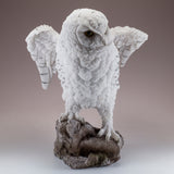 Snowy Owl Standing On Rock Figurine 3