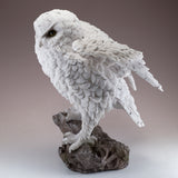 Snowy Owl Standing On Rock Figurine 6