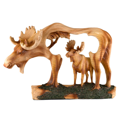 Moose Faux Carved Wood Figurine Statue 1