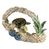 Green Sea Turtle Swimming In Coral Figurine