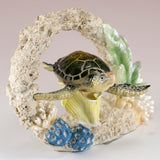 Green Sea Turtle Swimming In Coral Figurine 2