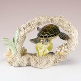 Green Sea Turtle Swimming In Coral Figurine 3