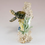 Green Sea Turtle Swimming In Coral Figurine 4
