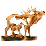 Elk Buck Deer Faux Carved Wood Look Figurine