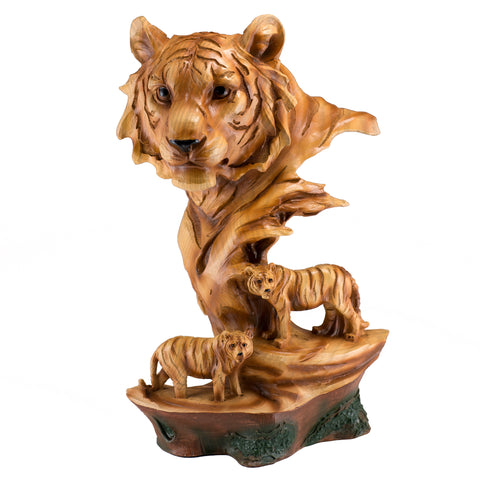 Tiger Head Bust Faux Carved Wood Figurine 5