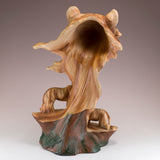 Tiger Head Bust Faux Carved Wood Figurine 7