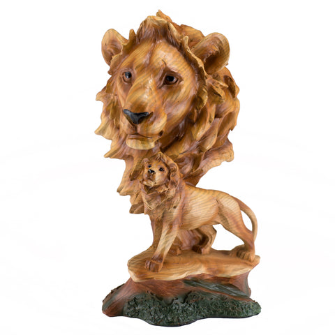 Lion Head Bust Faux Carved Wood Figurine 1