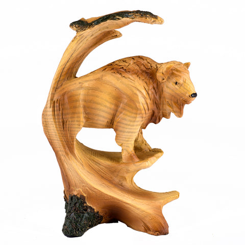 Buffalo Bison Faux Carved Wood Look Figurine 55