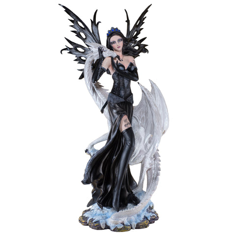 Large Scale Black Fairy With White Dragon Figurine 1