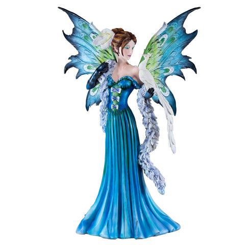 Large Blue Fairy With White Peacock Figurine 1