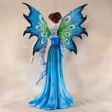 Large Blue Fairy With White Peacock Figurine 5