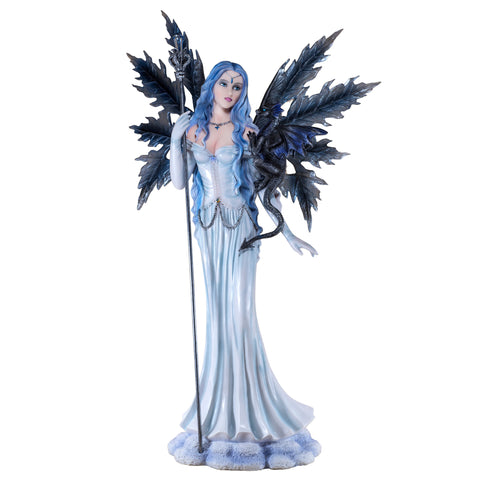 Large Scale Snow Fairy With Wand and Dragon Figurine 1