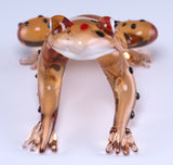 Frog Orange Hand Blown Glass Figurine