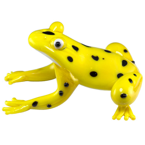 Hand Blown Glass Spotted Yellow Tree Frog Figurine