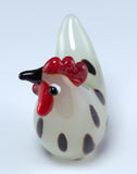Miniature Hand Blown Glass White Spotted Hen Chicken Figurine 2