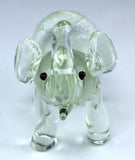 Miniature Hand Blown Glass Clear Silver Elephant Figurine
