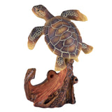 Sea Turtle With Anchor Faux Carved Wood Look Figurine