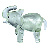 "Miniature Hand Blown Glass Clear Silver Elephant Figurine 2.25""H"