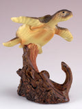 Sea Turtle With Anchor Faux Carved Wood Look Figurine 3