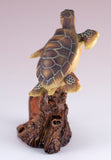 Sea Turtle With Anchor Faux Carved Wood Look Figurine 4