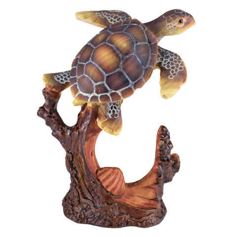 Sea Turtle With Shell Faux Carved Wood Look Figurine