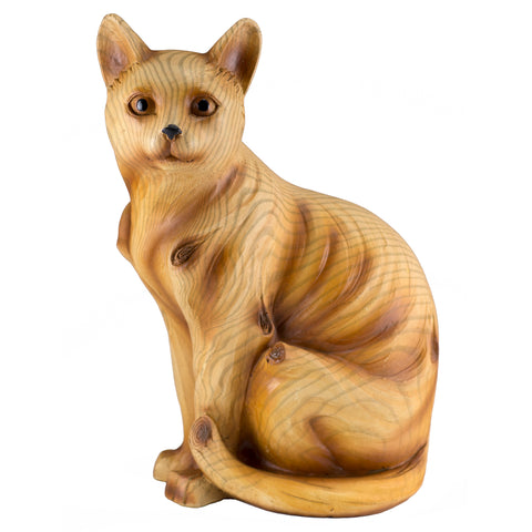 Cat Figurine Faux Carved Wood Look
