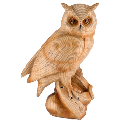 Horned Owl Faux Carved Wood Look Figurine