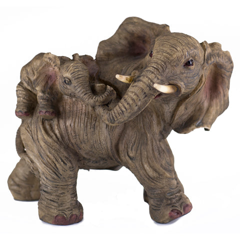 Elephant Mother With Baby Calf On Back Figurine 1