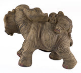Elephant Mother With Baby Calf On Back Figurine 3