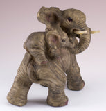 Elephant Mother With Baby Calf On Back Figurine 4