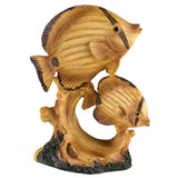 Tropical Angelfish Fish Faux Carved Wood Look Figurine