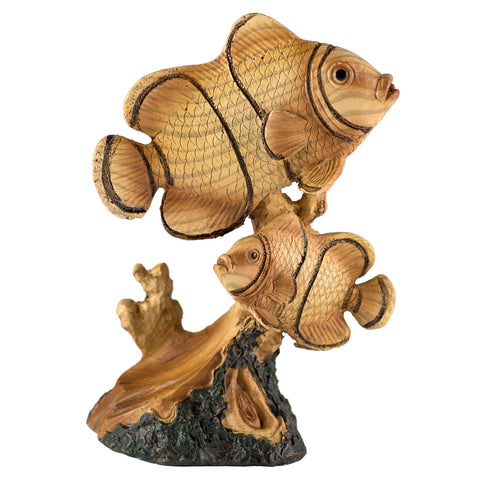 Tropical Clown Fish Faux Carved Wood Look Figurine