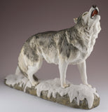 Wolf standing howling figurine