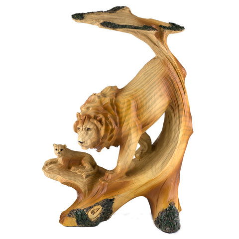 Lion Faux Carved Wood Look Figurine