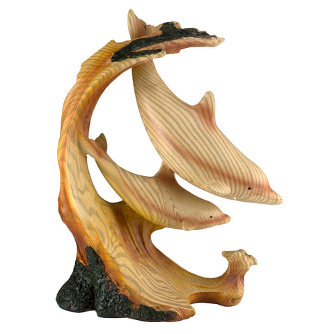 Dolphins On Waves (2) Faux Carved Wood Look Figurine 1